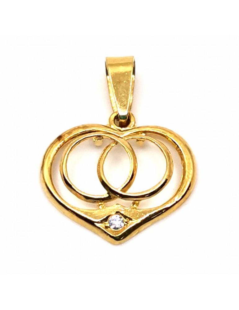 Colgante oro 18k con un corazón y dentro 2 alianzas entrelazadas y una circonita.