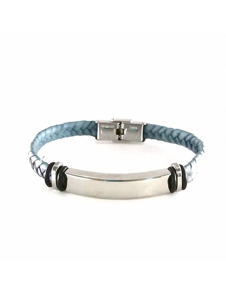 Pulsera cuero color azul claro y acero con chapa para personalizar con tu nombre
