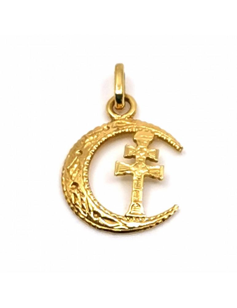 Cruz de Caravaca en oro de 18k con media luna