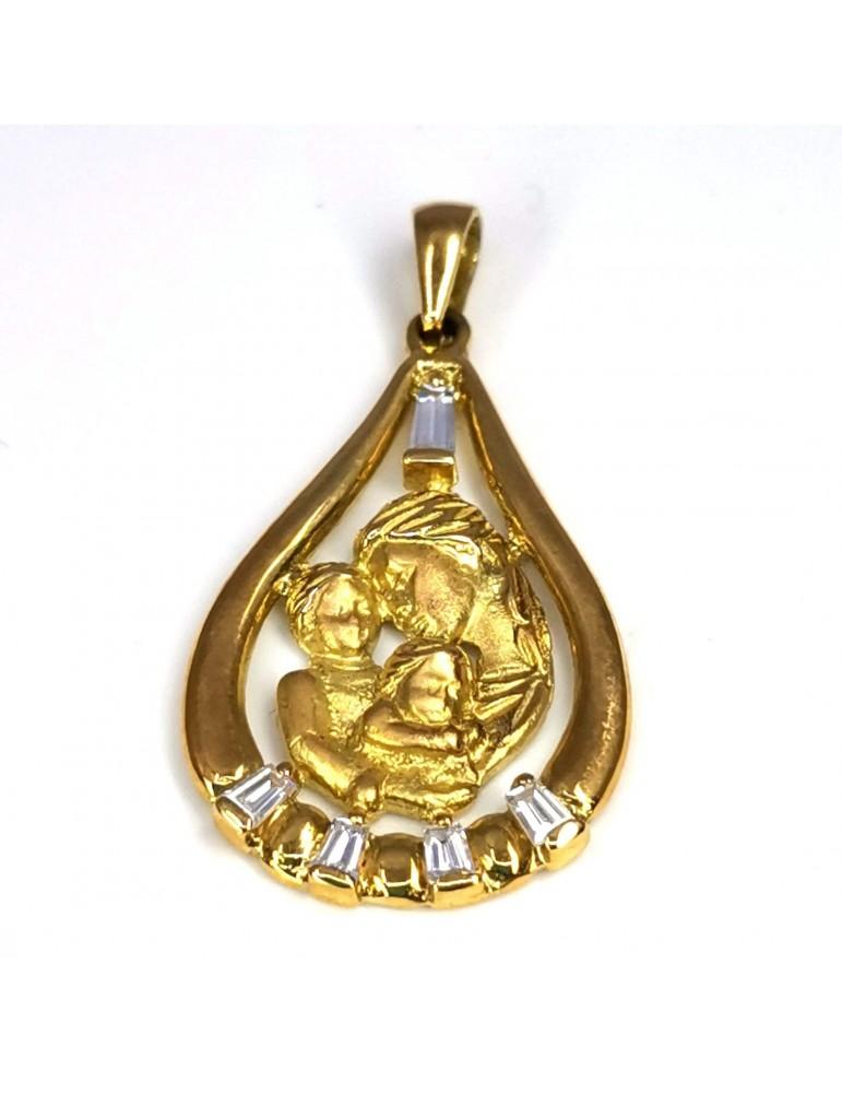 Colgante oro 18k con la madre con sus dos hijos y circonitas